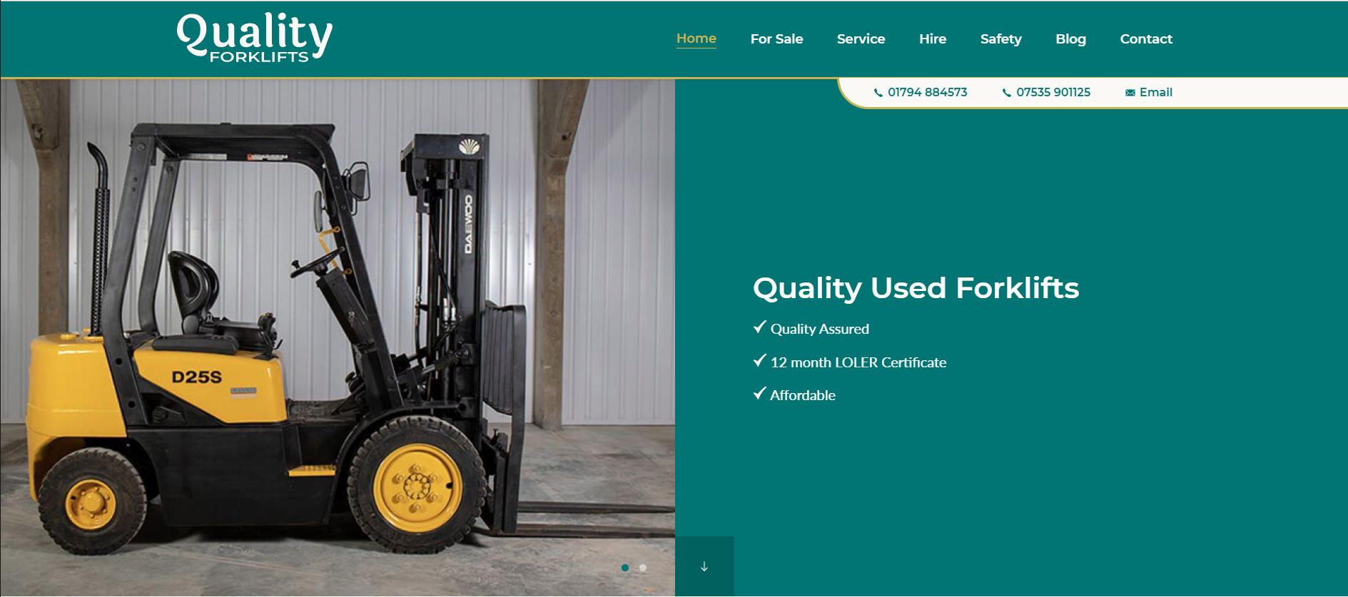Quality forklifts website header.