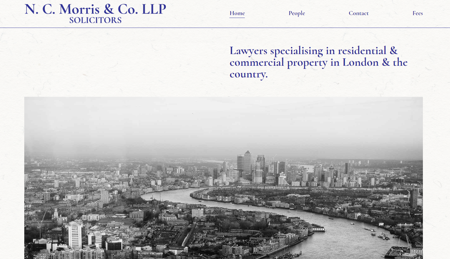 Preview of the N.C. Morris LLP website home page.