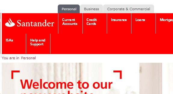 Santander, broken mobile responsive website design
